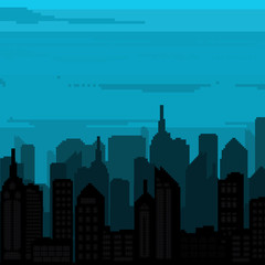 Illustration of vector pixel art city.