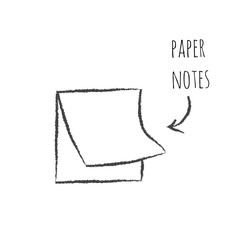 Paper notes icon in hand drawn style