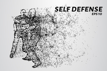 Self-defense of the particles. Man defends against attack with a knife. Silhouette of dots and circles. Vector illustration.