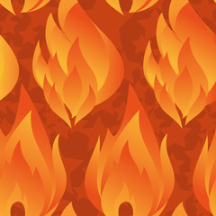 Seamless pattern with orange fire flames.