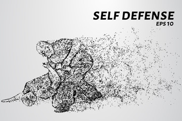 Self-defense of the particles. The man disarmed the attacker. Silhouette of dots and circles. Vector illustration.