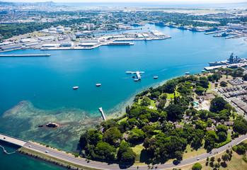Pearl Harbor in Hawaii , aerial view