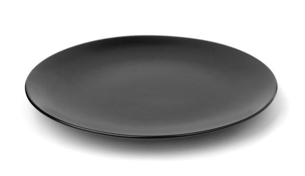 Empty black plate