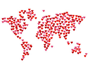 Map of the world created from red hearts.