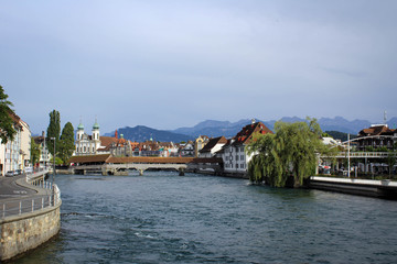 Old town of Lucerne and River Reuss embankment view, Switzerland