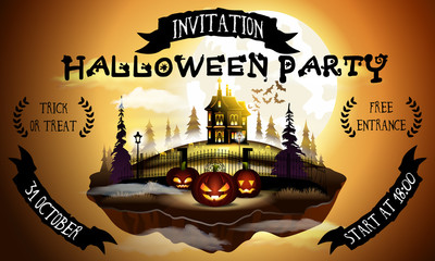 Halloween party poster illustration with pumpkins and house in warm moonlight.