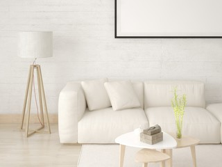 Mock up a modern living room with a light comfortable sofa and a stylish background.