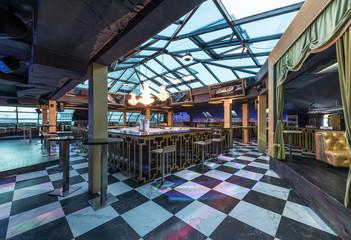 Interior of modern restaurant with skylight