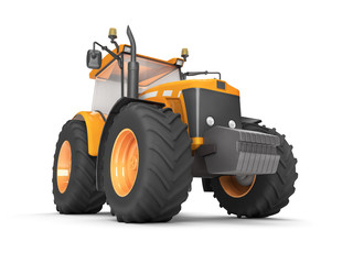 Wheel agricultural tracktor isolated on white background. Front side view