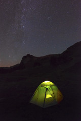 Night Stars Galaxy North Cascades Mountain Landscape Camping Tent