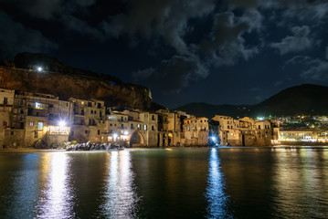 Cefalu town on Sicily by night