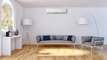 Modern bright empty room with air conditioning, white wall. 3D rendering