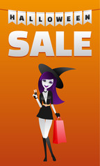 Poster with halloween sale and sexy witch with boutique package.