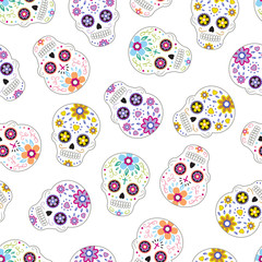 Seamless Pattern Mexican Day of the Dead Sugar Skulls 2