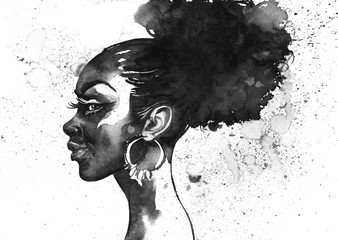 Watercolor fashion african woman portrait with splashes. Painting monochrome beauty illustration. Hand drawn profile of young girl