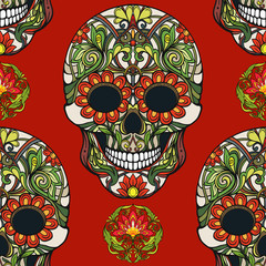 Seamless pattern, background with sugar  skull and floral pattern. Stock line vector illustration.