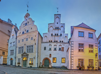 Wall Mural - Three Brothers, a cluster of medieval houses in old town, Riga.