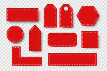 Vector set of realistic isolated red blank price tag coupons for decoration and covering on the transparent background. Concept of discount and sale.
