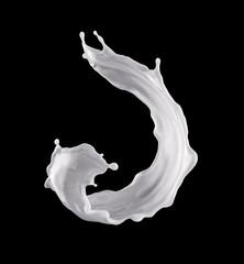 3d render, digital illustration, milk, dynamic liquid splash, white wave, isolated on black background