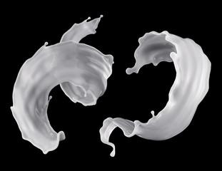 3d render, digital illustration, milk, spiral liquid splash set, clip art elements, white waves, isolated on black background