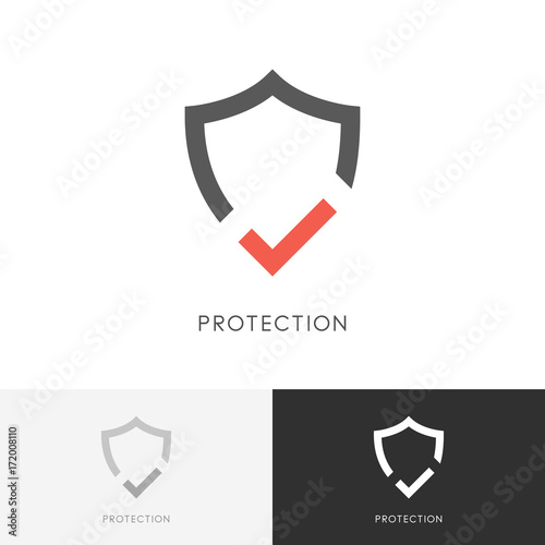 Safe protection logo - shield and red check mark or tick symbol