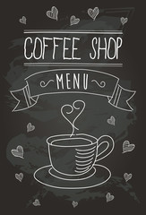 Chalkboard Coffee Shop Bistro Vector Banner and Coffee Isolated Icons 1