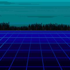 Illustration of vector pixel city.