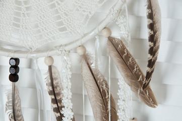 Cream crochet doily dream catcher