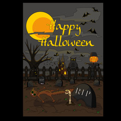 The Halloween illustration in a freehand style. Cartoon postcard.