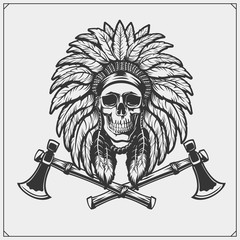 Emblem with American Indian chief skull.