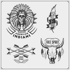 Set of american indian labels, badges, emblems and design elements.