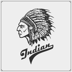 Emblem with American Indian chief. Vector illustration.