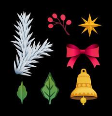 3d render, Christmas clip art elements, black background, paper cut, festive ornaments, holiday decoration, bell, fir, bow, star, leaves