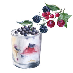 Yogurt with berries in a glass. Isolated on white background.