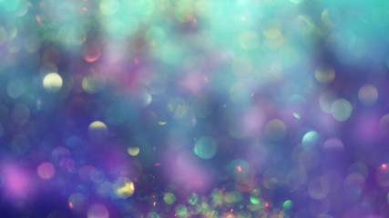Abstract underwater background, mermaid skin concept, bokeh light glistening on purple and turquoise color shades, blurred, perfect as backdrop or wallpaper, a dreamy atmosphere for your design..