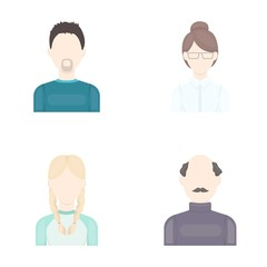 A man with a beard, a businesswoman, a pigtail girl, a bald man with a mustache.Avatar set collection icons in cartoon style vector symbol stock illustration web.
