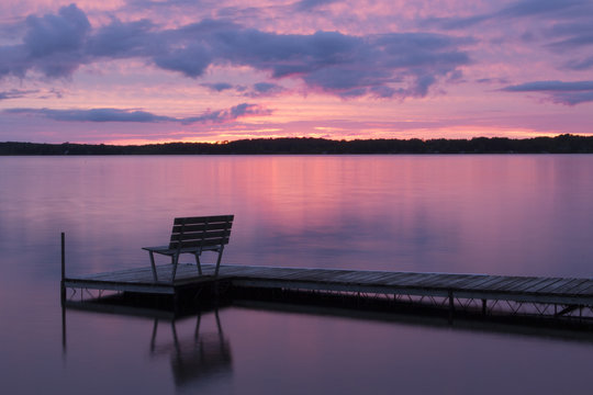 Pink Sunset Over Lost Land Lake, Hayward Wisconsin