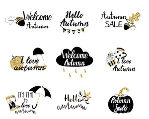 Autumn logos, tags, labels.