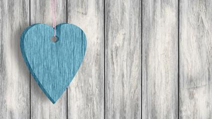 Niebieskie serce z drewna