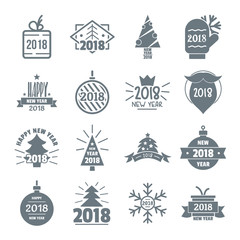 2018 New Year logo icons set, simple style
