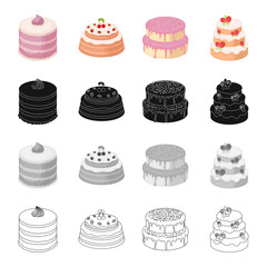 A festive cake and other types of dessert. Cakes set collection icons in cartoon black monochrome outline style vector symbol stock illustration web.