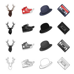 Reindeer antlers, gumshoes, hat, audio cassette. Hipster style set collection icons in cartoon black monochrome outline style vector symbol stock illustration web.