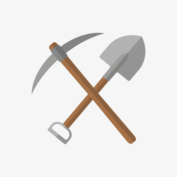 Pickaxe and shovel icon. Vector. Isolated.