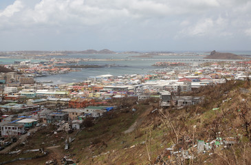 Damaged and destroyed houses following Hurricane Irma, are seen from a hill in Cole Bay on Sint Maarten (Saint Martin) island