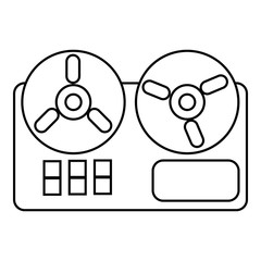 Reel tape recorder icon , outline style