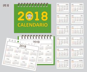 Spanish Kids calendar for wall or desk year 2018, 2019
