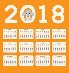Spanish kids calendar for wall or desk year 2018