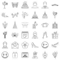 Balloon icons set, outline style
