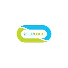 Simple Abstract Oval Logo template with flat green and blue color.