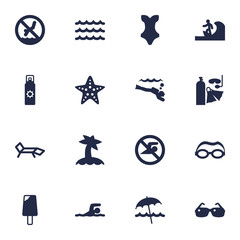 Set Of 16 Beach Icons Set.Collection Of Mask, Sundae, Diver And Other Elements.
